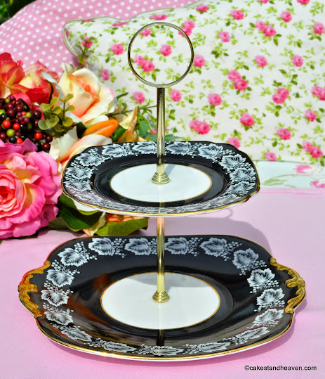 Windsor Black, White and Gold Gilded Vintage China 2 Tier Cake Stand