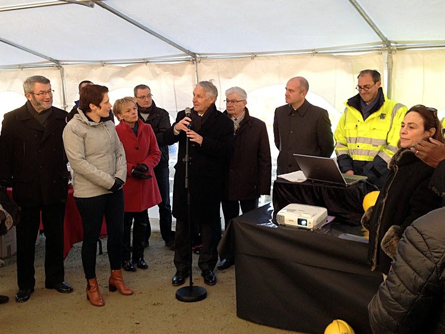 Cérémonie de lançage du nouveau viaduc sur le Blavet le 18 janvier 2017 à Pontivy