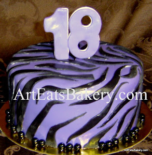 Purple and black custom unique zebra stripe animal print girl's birthday cake with 18 topper
