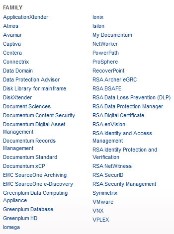EMC Product List
