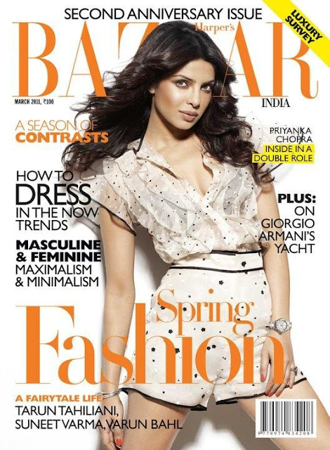 Priyanka Chopra on Harper's Bazaar India Magazine Cove - March 2011