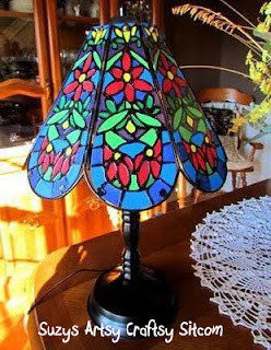faux tiffany lamp created from thrift store lamp