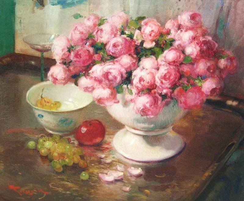 Fernand Toussaint - Composition aux roses