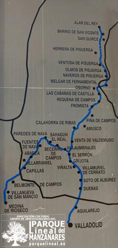 Mapa del Canal de Castilla