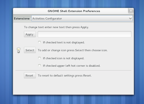 Activities Configurator su Gnome Shell