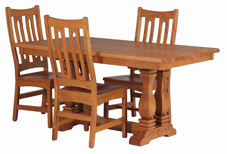 60 x 36 Dane Dining Table and Runic Chairs in Vintage Cherry with custom tabletop