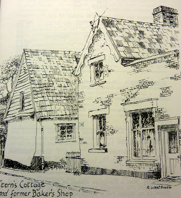 Stren's Cottage and the former bakery drawn by Ron Westbrook in 1981