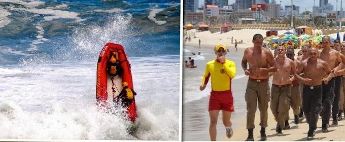 Natal: Bombeiros fazem atividades de mergulho na Praia do Forte