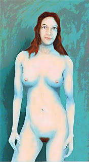 Original digital fine art Female - Nude Blue With Red Hair