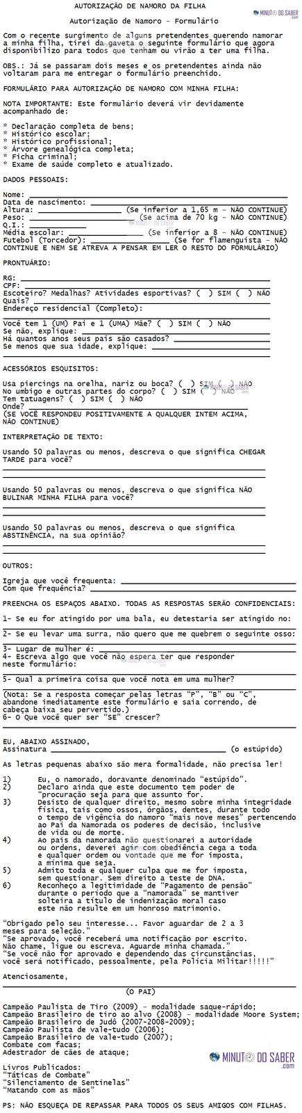 Formulário de autorização de namoro da filha