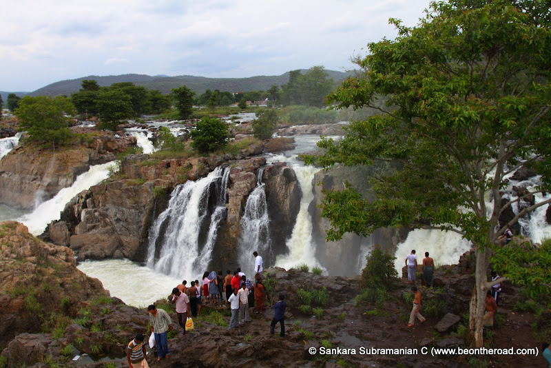 Tourists admire the five falls on the Tamil Nadu side of Hogenakkal Falls - this is where the Roja movie was shot