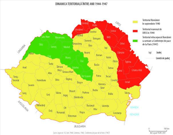 Harta administrativ-teritorială a României între 1944 - 1947