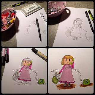 en illustration från skiss till färdig