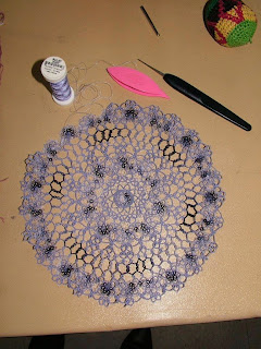 Amanda's darling tatted doily. The colors meld together nicely.