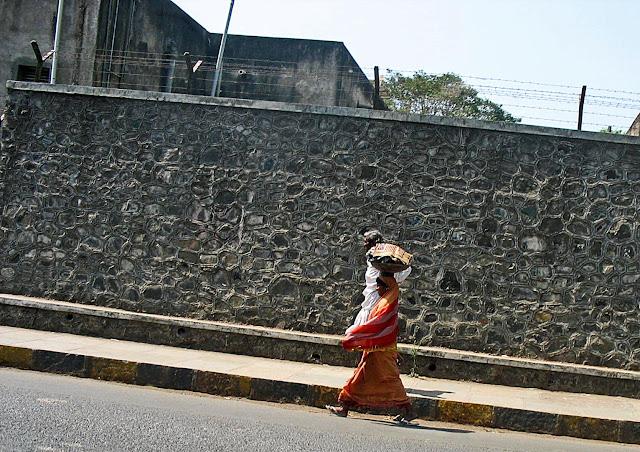 woman with metal basket