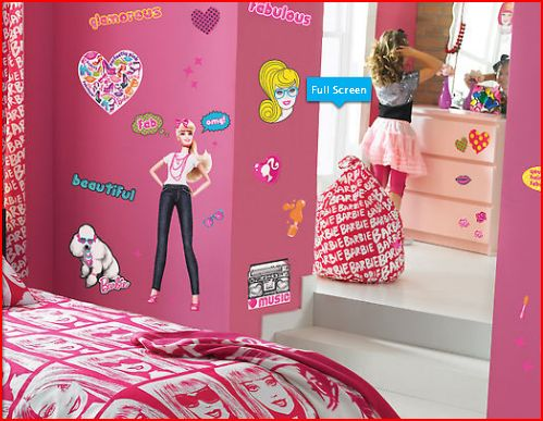 Youngspaces barbie wall stickers now in store for Barbie wall mural