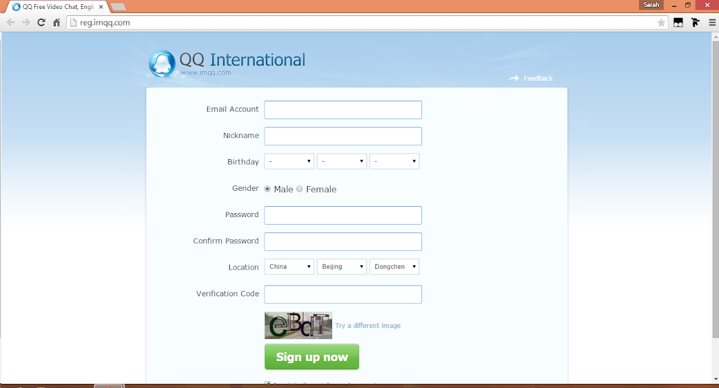 QQ sign up page