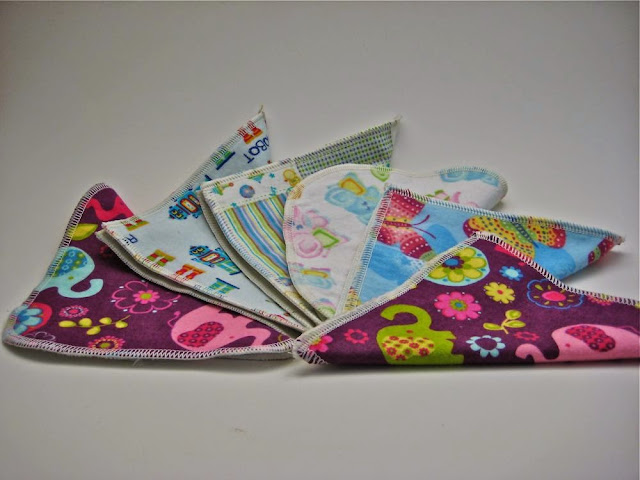 Set of 6 Cotton Velour/flannel Cloth Wipes
