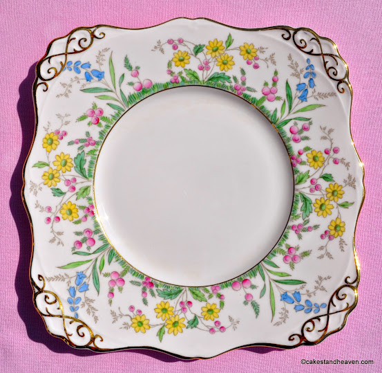 Tuscan hand painted pink fine china vintage cake plate