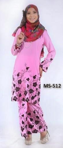 Baju Kurung Pahang Light Pink Merah Jambu
