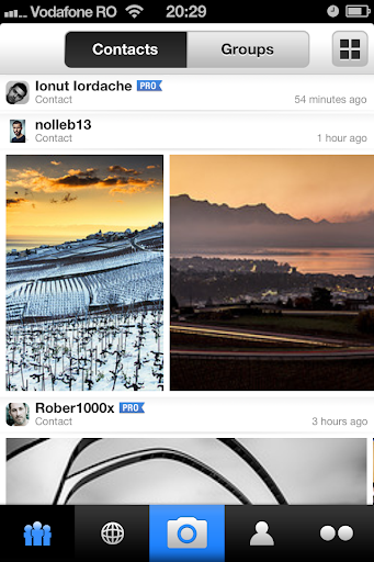 New Flickr iPhone app: Contacts feed