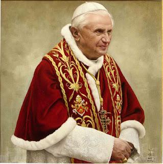 Ritatto Papa Benedetto XVI olio su tela