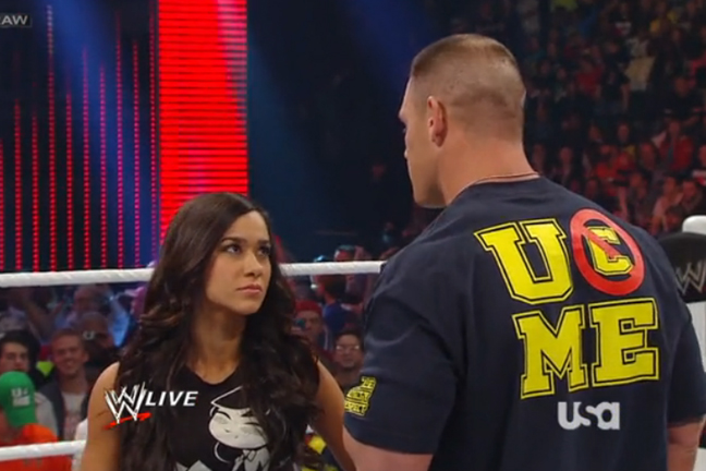 aj lee, aj cena, monday night raw, wwe raw, raw kiss, aj kiss raw, aj lee style, aj lee tshirt, aj lee skulls, aj lee tee