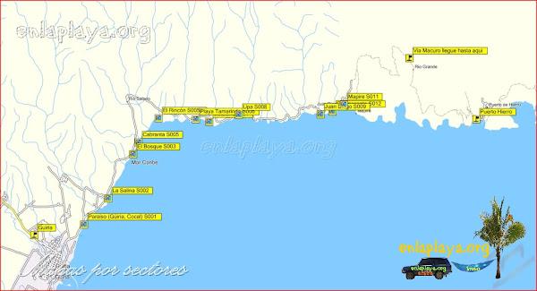 Mapa Playas desde Guiria Hasta Puerto Hierro