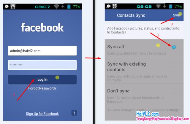 đăng nhập vào ứng dụng facebook trên điện thoại android