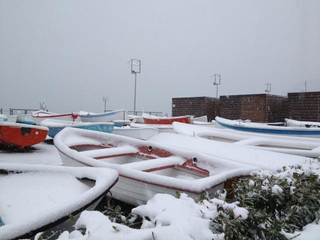 Nevicata 11 febbraio 2013 le barche imbiancate