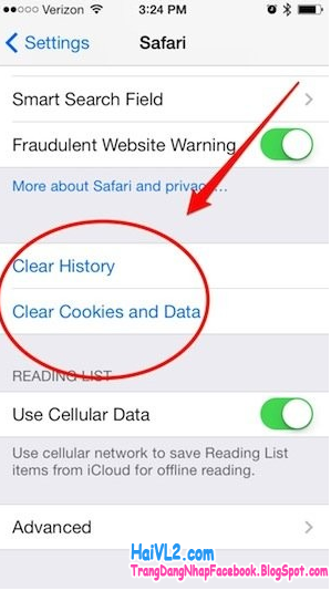 clear history và clear cookies của iphone 5s