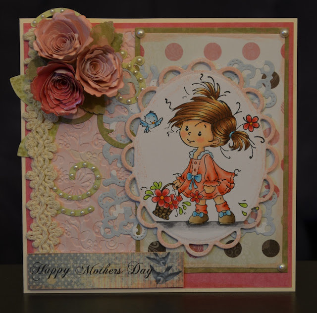 Elizabeth Whisson, handmade card, Spellbinders Lacey Ovals, mother's day, Spiral Blossom One, Whimsy Stamps, Peggy, Wee Stamps, copic, copic markers, copic sketch, copic colouring, copic coloring