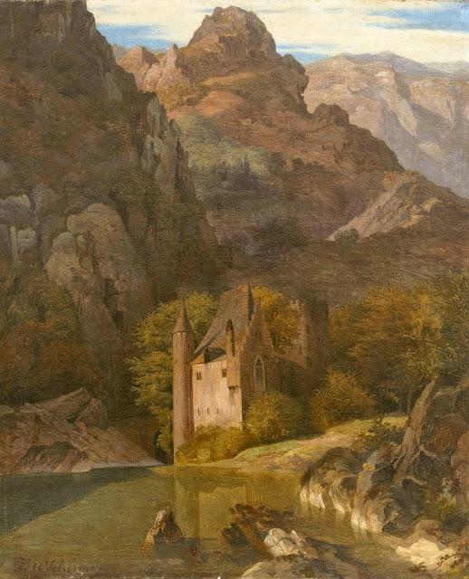 Johann Wilhelm Schirmer - Das Schloss an der Felswand