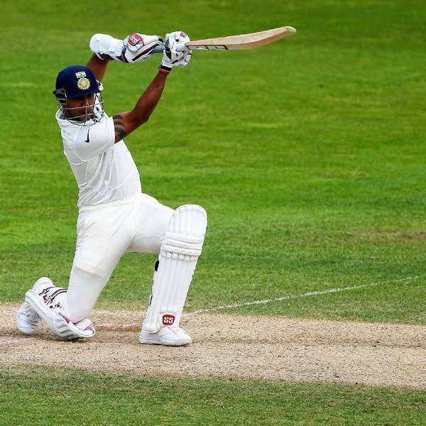 India's Stuart Binny bats on the final day of the first cricket Test match between England and India at Trent Bridge in Nottingham, central England on July 13, 2014