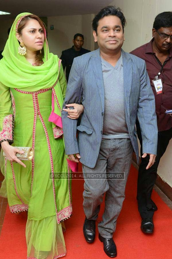 Music director AR Rahman with his wife Saira Banu during the 61st Idea Filmfare Awards South, held at Jawaharlal Nehru Stadium in Chennai, on July 12, 2014.