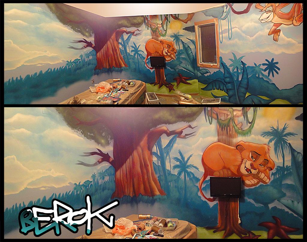 Berok graffiti mural profesional en barcelona mural rey le n for Graffitis para habitaciones