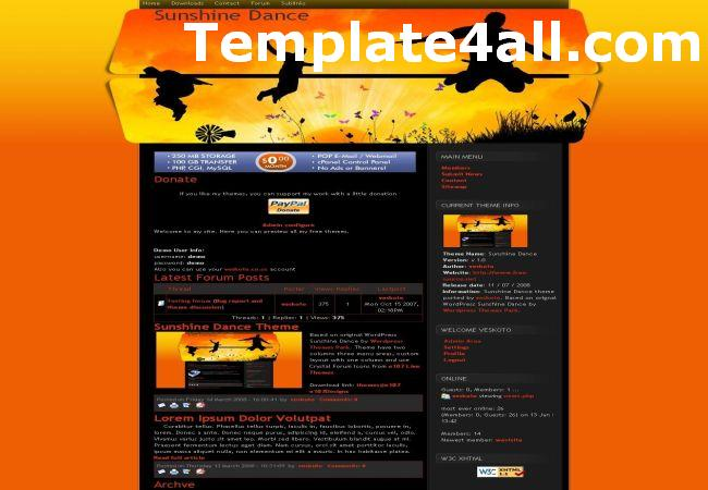 Free Orange Dance E107 Theme Template