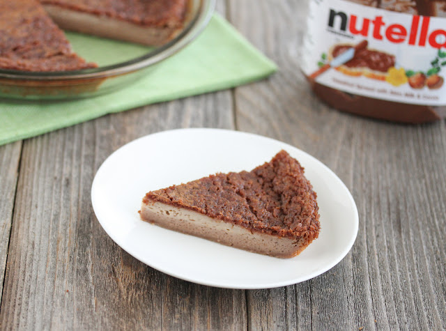 photo of a slice of Nutella Custard Magic Pie on a plate