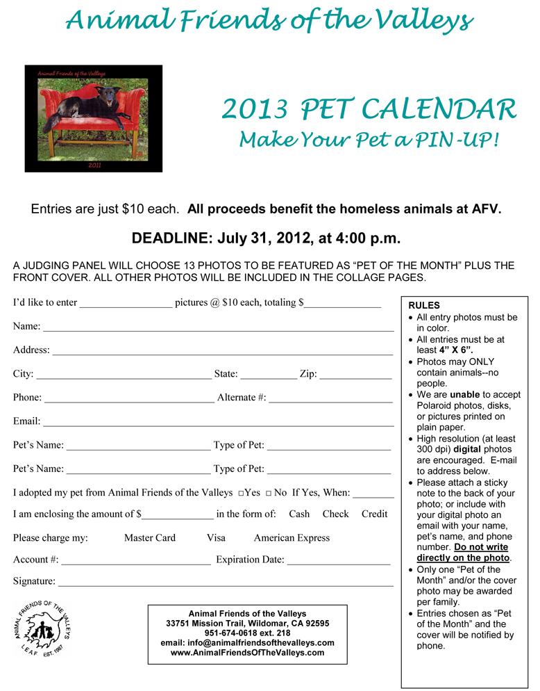 pet calendar contest