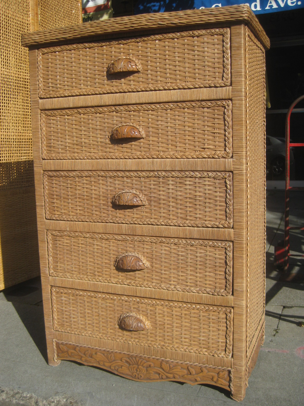 uhuru furniture collectibles sold chest of drawers with wicker sides 125. Black Bedroom Furniture Sets. Home Design Ideas