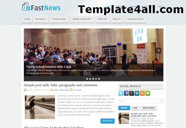 Free Fast News Magazine Blogger Template