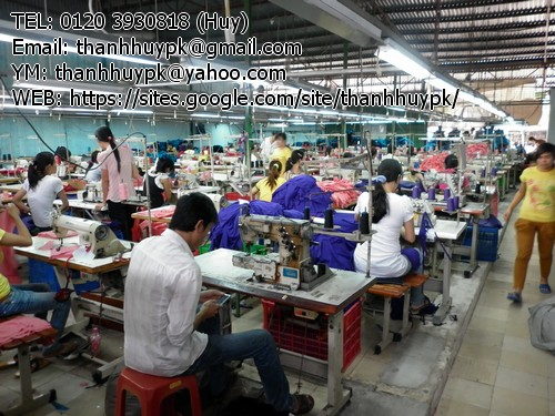 xưởng sản xuất với hàng trăm máy may, đội ngũ thợ may đông đảo tay nghề tuyển chọn