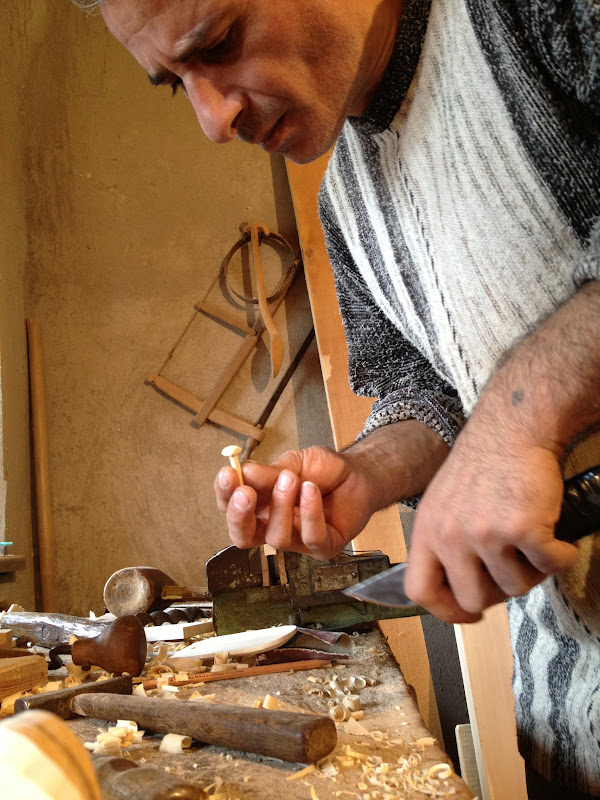 A woodworker in Dilijan