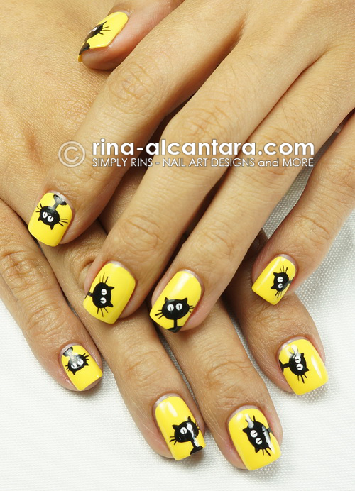 Black Cats Galore Nail Art Design