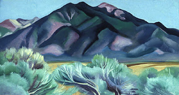Traditional-Modern art - 20th century, American, Georgia O'Keeffe Taos Mountain New Mexico