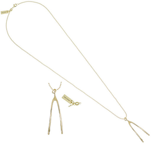 Marc by Marc Jacobs Wishbone Gold Plated Brass Charm Necklace