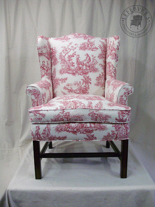 Lefebvre S Upholstery Small Antique Wing Chair Red Toile