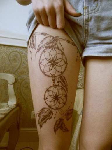 thigh Dreamcatcher Tattoos for girls