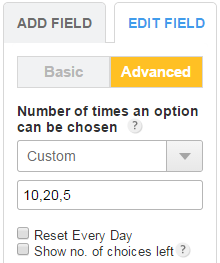 Limit number of times an option can be chosen