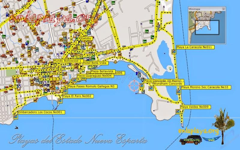 Mapa de Playas de Porlamar